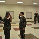 Cadet 2nd Lieutenant Austin Langley receives the Communications Specialty Track award